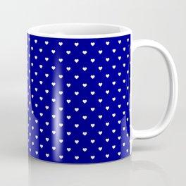 Mini White Love Hearts on Dark Navy Blue Coffee Mug