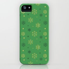 Green background with black and gold snowflake xmas pattern iPhone Case