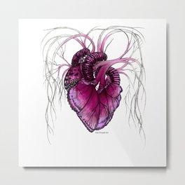 Buttefly Heart Pink Metal Print