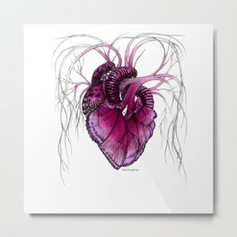 Buttefly Heart Pink Metal Print