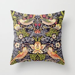 William Morris Strawberry Thief Art Nouveau Painting Throw Pillow