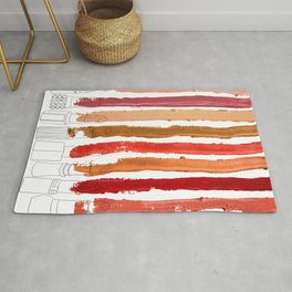Lipstick Stripes - Red Orange Gold Rug