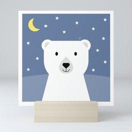 sweet dreams little polar bear, wildlife animal, geometric & minimalism Mini Art Print