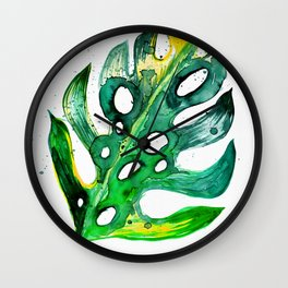 Tropical Greenery - Philodendron Leaf Wall Clock