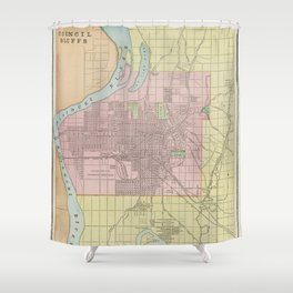 Vintage Map of Council Bluffs IA (1901) Shower Curtain