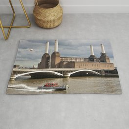 Battersea Power Station with Pink Floyd Pig Rug