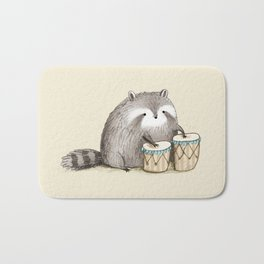 Raccoon on Bongos Bath Mat