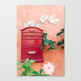"Travel photography print ""Red mailbox in Tuscany "" photo art made in Italy. Colorful photo pastel Canvas Print"