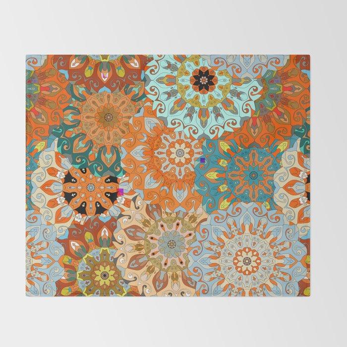 Boho Mandela Pattern 1 Throw Blanket