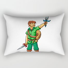 Warrior elf green cartoon illustration Rectangular Pillow
