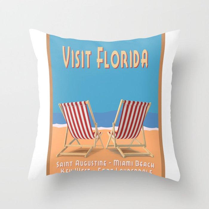 Florida Vintage Travel Poster Throw Pillow