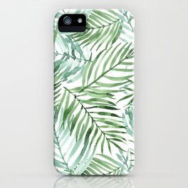 Watercolor palm leaves pattern iPhone Case