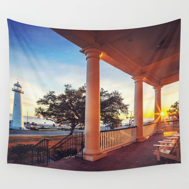 Biloxi Lighthouse Sunset Wall Tapestry By Jmccool Society6