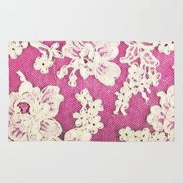 pink lace-photograph of vintage lace Rug