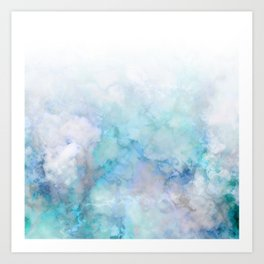 Fresh Blue and Aqua Ombre Frozen Marble Art Print