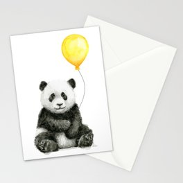 Panda Watercolor Animal with Yellow Balloon Nursery Baby Animals Stationery Cards