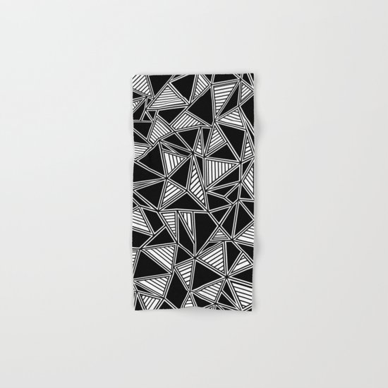 Abstract Outline Lines Black Hand & Bath Towel
