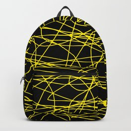 Black with yellow scribbling lines, happy yellow art, less is more Backpack