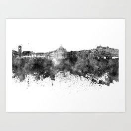 Coimbra skyline in black watercolor on white background Art Print