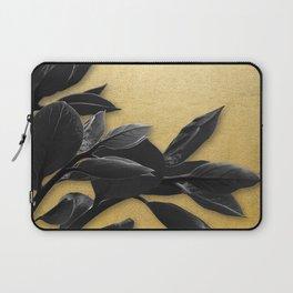 Black Foliage , Gold Background Laptop Sleeve