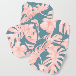 Tropical Palm Leaves and Hibiscus Pink Teal Blue Coaster