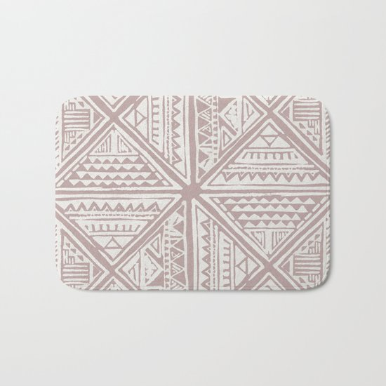 Simply Tribal Tile in Red Earth on Lunar Gray Bath Mat