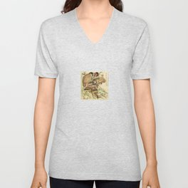 Hokusai – Hatakeyama Shigetada carrying his horse,  葛飾 北斎, Samurai,Genpei,Jidaigeki. Unisex V-Neck