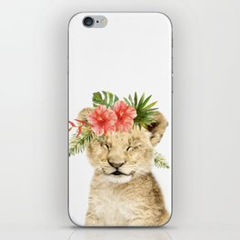 Baby Lion Cub with Flower Crown iPhone Skin