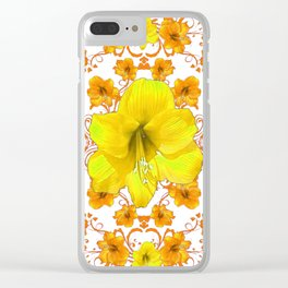 YELLOW & GOLD BOHEMIAN ART FLORAL ON WHITE Clear iPhone Case