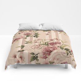 Flowers and Stripes Two Comforters