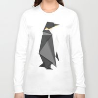 fractal Long Sleeve T-shirts featuring Fractal geometric emperor penguin by Picomodi