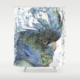 """Watercolor Painting of Picture """"Black Cockatoo"""" Shower Curtain"""