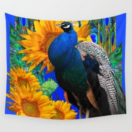 #2 BLUE PEACOCK &  SUNFLOWERS BLUE MODERN ART Wall Tapestry