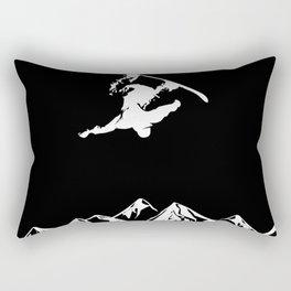 Rocky Mountain Snowboarder Catching Air Rectangular Pillow