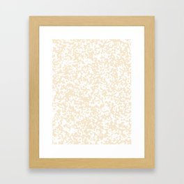 Small Spots - White and Champagne Orange Framed Art Print