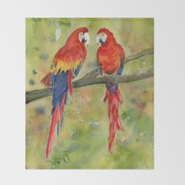 Scarlet Macaw Parrots Throw Blanket