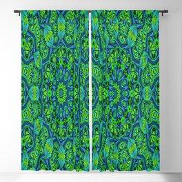 Green-black-blue kaleidoscope Blackout Curtain