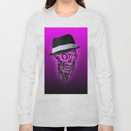 Elegant Skull with hat,hot pink Long Sleeve T-shirt