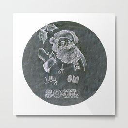 Santa St. Nick Chalkboard holiday message Metal Print