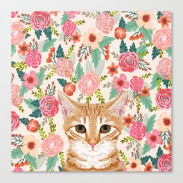 Orange Tabby floral cat head cute pet portrait gifts for orange tabby cat must haves Canvas Print