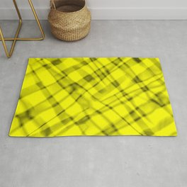 Bright metal mesh with yellow intersecting diagonal lines and stripes. Rug