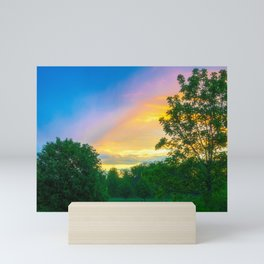 Storm Meets Sunset in Beautiful Light Mini Art Print