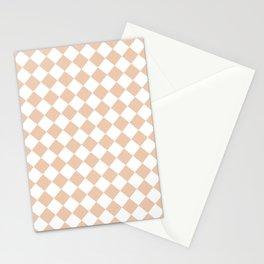 Diamonds - White and Desert Sand Orange Stationery Cards