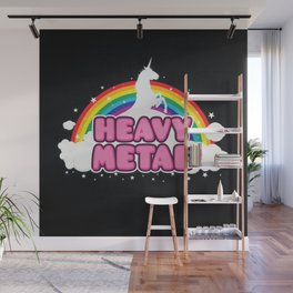 HEAVY METAL! (Funny Unicorn / Rainbow Mosh Parody Design) Wall Mural
