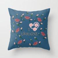 ukraine Throw Pillows featuring love UKRAINE by luiza13