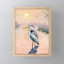 Great Blue Heron at Sunset Framed Mini Art Print