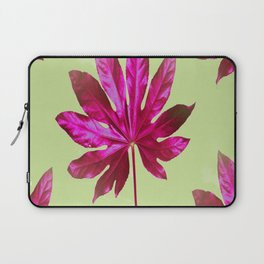 Large pink leaf on a olive green background - beautiful colors Laptop Sleeve