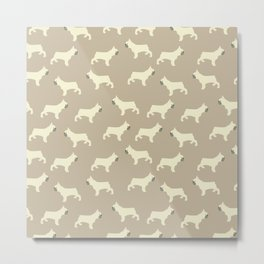French Bull Dogs on Taupe Metal Print