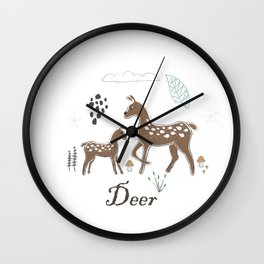 Cute Winter Icon with Deer. Hand Drawn Scandinavian Style Wall Clock