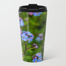 Forget-me-nots In The Rain Metal Travel Mug